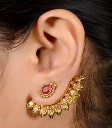 Buy Antique 2 in one stud cum ear cuff hoop online Indian Jewelry Earrings, Jewelry Design Earrings, Gold Earrings Designs, Gold Jewellery Design, Ear Jewelry, Stud Earrings, Simple Earrings, Gold Wedding Jewelry, Gold Jewelry