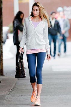 All eyes are on Jessica Hart's neon sneakers.