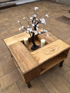 This Beautifully Hand Crafted Coffee Table Is Made From Wine Distribution Bo Each Has The Label Burned Into Side
