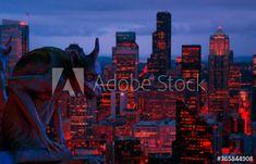 City at night with gargoyle - Buy this stock photo and explore similar images at Adobe Stock | Adobe Stock