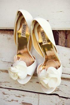 Elegant white #WeddingShoes #BadgleyMischka