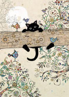 Hang In There Cat, Bug Art, Black Cat Art, Black Kitty, Illustration Art, Illustrations, Art Birthday, Birthday Cards, Cat Posters