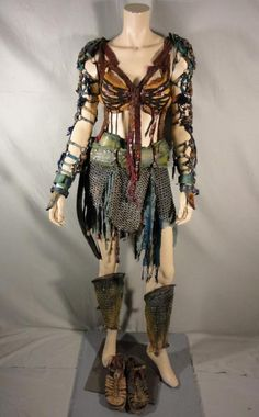 Ensemble (Naevia) Post Apocalyptic Clothing, Post Apocalyptic Costume, Post Apocalyptic Fashion, Dance Costumes, Cosplay Costumes, Barbarian Costume, Tribal Warrior, Dark Warrior, Fc B
