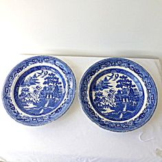 Pair Wedgwood Willow Pattern Large Dished Plates.