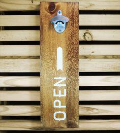 Wall-Mounted Wood Bottle Opener