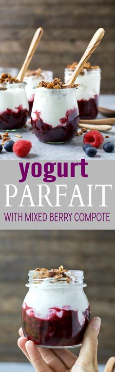 Fresh Yogurt Parfait with a Mixed Berry Compote and crunchy vanilla almond granola - an easy breakfast that's kid friendly! #ad #UndeniablyDairy @DairyGood Gluten Free Recipes For Breakfast, Brunch Recipes, Snack Recipes, Dessert Recipes, Brunch Ideas, Healthy Recipes, Easy Desserts, Snacks, Weight Watcher Desserts