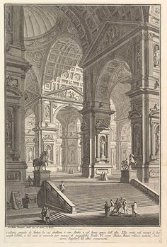 """Giovanni Battista Piranesi (1720–1778), Large sculpture gallery built on arches and lit from above, Architecture and Perspectives (Part One), ca. 1750, Etching, Met Museum, New York. """