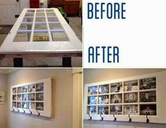 Old door turned cute picture frame/hanging hooks
