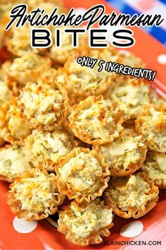 Artichoke Parmesan Bites - only 5 ingredients! Marinated artichokes, cream cheese, parmesan cheese, garlic salt, and phyllo tart shells. Can make ahead of time and refrigerate or freeze for later. Great for parties! We could not stop eating these. YUM! #appetizer #artichokes #partyfood #gameday Best Appetizer Recipes, Recipes Appetizers And Snacks, Finger Food Appetizers, Yummy Appetizers, Appetizers For Party, Finger Foods, Christmas Appetizers, Party Dips, Savory Snacks