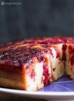 Cranberry upside down cake with caramel cranberry topping and orange zest speckled sour cream cake. ~ SimplyRecipes.com