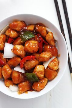 Healthy Sweet and Sour Chicken - Cut back on the sugar and cornstarch and this is great!