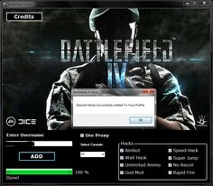 Battlefield 4 HackBattlefield 4 is one of the most played shooters. The game can be played online and has a very nice graphics. The game is quite difficult which is why our team has created Battlefield 4 Cheat Hack Tool.With this hack tool game will be Battlefield 1942, Hack 2016, Working Games, Cheat Engine, Most Played, Play Online, God Of War, Me On A Map, Cheating