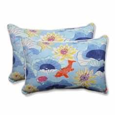 Lotus Lake Cobalt Over-sized Rectangular Throw Pillow (Set of 2)