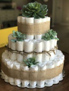 Succulent/Farmhouse diaper cake. Bottle of wine in center!