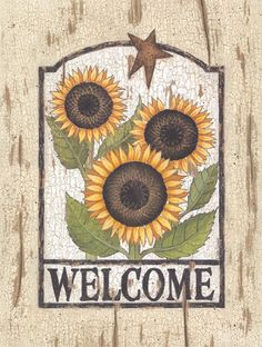 """Primitive Country MINI Print *Welcome with Sunflowers* black frame 8/"""" x 6/"""""""