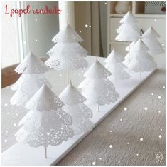 Add a little holiday cheer to your home with these festive tabletop DIY Christmas tree decorations! These Christmas tree crafts are fun, easy & kid-friendly Paper Christmas Decorations, Creative Christmas Trees, Christmas Tree Crafts, Mini Christmas Tree, White Christmas, Christmas Holidays, Christmas Ornaments, Christmas Ideas, Xmas Trees