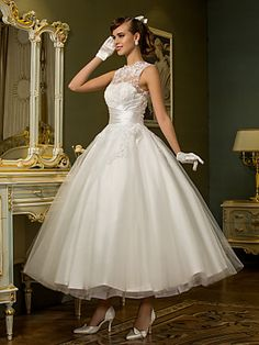 Hochzeitskleid - Chic & Modern/Hochzeitsempfang - A-Linie/Prinzessinnen-Linie - Juwel-Ausschnitt - Knöchellänge (Tüll) | LightInTheBox