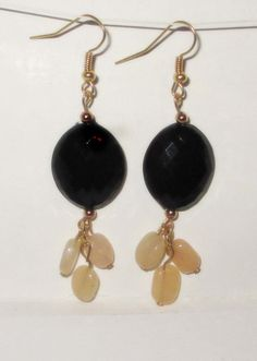 CIJ ON SALE Gorgeous Semiprecious Jade and Faceted Black Acrylic Drop earrings on Etsy, $10.00