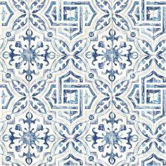Brewster Sonoma Navy Spanish Tile Wallpaper Lowes.com