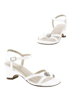 27f37652b75 This heeled flower girl sandal is adorned with a pearl brooch. Your flower  girl will