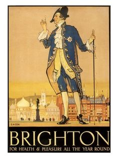- Brighton For Health And Pleasure, Artist: E A Cox, Rail Travel Poster Art Print) Vintage Travel Posters, Vintage Ads, Corpus, Art Nouveau Poster, Railway Posters, England, Brighton And Hove, Travel Around The World, The Past