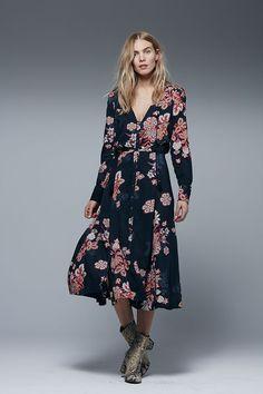 Free People Miranda Printed Midi Dress | Black Combo