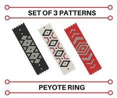 Set of 3 Peyote Patterns Rings Geometric Design Beaded Rings