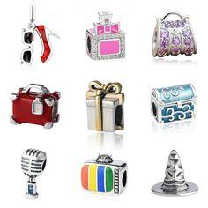 Fit original pandora charms silver 925 high heel shoes perfume bottle handbag microphone box Beads diy Fine Jewelry making gifts