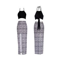 Bamgool Women Bralet Cami Crop Top Two Piece Set Split Skirt Casual... (35 BRL) ❤ liked on Polyvore