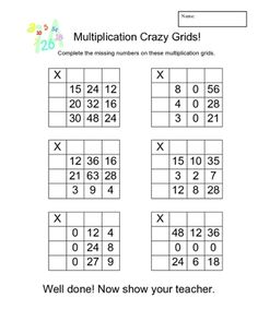 Multiplication Crazy Grids - A set of quick-fire multiplication challenges.