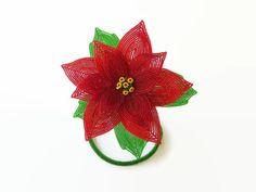 Scultura francese di perline fiore Poinsettia di LaurenHCreations
