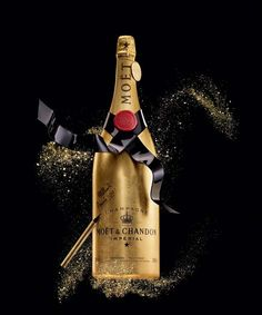 Limited-edition Golden Premium Jeroboam Moet bottle, cloaked in golden leaves and comes with a special pen to personalise your bottle.