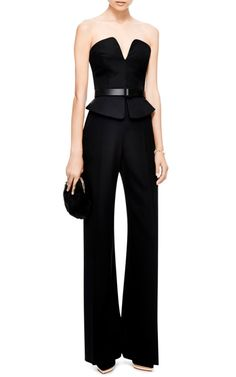 Minimal and Classic Style // Black belted Trompe L'Oeil wide-leg black jumpsuit by Martin Grant - Moda Operandi Looks Style, Style Me, Classic Style, Jumpsuit Elegante, Wide Leg, Look Fashion, Womens Fashion, Dress Me Up, Dress To Impress