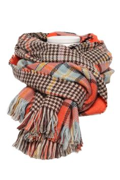 e9daba66d55 Buy Pink Queen Men Winter Houndstooth Scarves Long Reversible Wrpas Shawl  Orange, One Size: Shop top fashion brands Cold Weather Scarves & Wraps at  ...