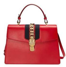 $3,145, Gucci Women's Red Leather Handbag in Red #bags #handbags #bolsa #style #womensfashion #affiliate #shopstyle #mystyle #handle #shoulderbag #gucci