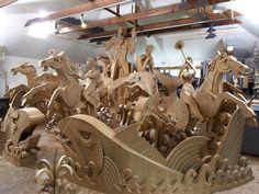 Amazing sculpture of Poseidon and sea horses in CARDBOARD.