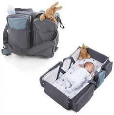 This is the ultimate travel gadget!  This fantastic bag transforms into a super comfortable carry cot with padded mattress. It also instantly converts into a changing station.  The design ensures the storage pockets are always accessible. Although not meant as an everyday changing bag (weighs over 2kg), this bag is perfect for traveling with a young baby as it offers a 2 in 1 bed & bag solution.  It consists of four large storage compartments, one of which is equipped with isothermal covers…