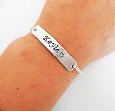 Name Bracelet Personalized bar bracelet Bridesmaid by RobertaValle