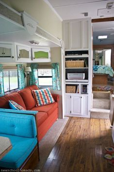 Great ideas for redecorating an RV or trailer!  RV Redecorated Living Room 3