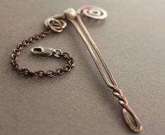 Handcrafted shawl pin or scarf pin in a swirly stick by IngoDesign, $32.00