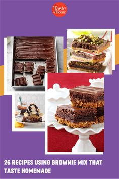 Our favorite shortcut to decadent desserts? Recipes using brownie mix. Just grab a box from the pantry and get ready to enjoy trifles, bars, cheesecake and more. Banana Brownies, Mint Brownies, Peanut Butter Brownies, Homemade Chocolate Frosting, Homemade Brownies, Grilled Bananas, Delicious Desserts, Dessert Recipes, Brownie Sundae