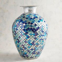 Generous Vintage Square Textured Davidsons Luna Vase Pottery, Porcelain & Glass