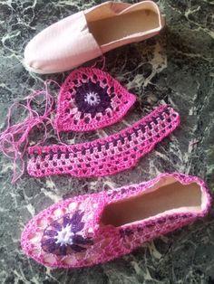 Alpargatas forradas alshoes crochet   Mimi Creaciones