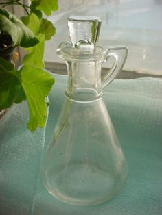 Vintage Hazel Atlas Clear Glass Cruet Bottle with Stopper As-Is K 3-6 ~ seller; florasgarden on ebay
