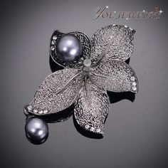 Find More Brooches Information about Promotion  Vintage Court Style Gun Metal Flower Brooches With Rhinestone Pins Fashion Women  Pearl Brooch Pendant Jewerly ,High Quality Brooches from YOE JEWELRY on Aliexpress.com
