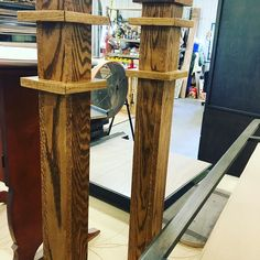 Newel post for a stair case remodel will show the whole stair case when complete #kitchencabinet #classicwood #lnk #entertainmentcenter #bathroomvanity #customwoodworking #hardwork via ClassicWoodLincoln.com