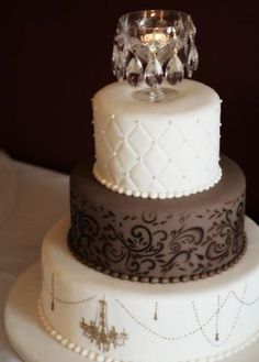 Fondant Chocolate Wedding Cakes ♥ Wedding Cake Design # 805208 – Famous Last Words Beautiful Wedding Cakes, Gorgeous Cakes, Pretty Cakes, Amazing Cakes, Take The Cake, Love Cake, Chandelier Cake, White Chandelier, Elegant Cakes