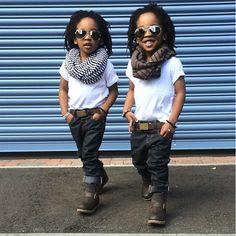 These twins pull off infinity scarves and belted jeans at a young age. // #kidfashion