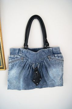 bef5f1f83c1 Items similar to Blue Jean with Black Leather Recycled jean bag , handmade  reclaimed denim shoulder tote bag in blue , upcycled jean handbag , on Etsy