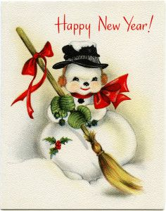 vintage snowman clipart, old fashioned new year card, vintage winter graphic, snowman straw broom~~~I think this is where my love for snowmen first appeared! Vintage Happy New Year, Happy New Year Cards, New Year Greeting Cards, New Year Greetings, Vintage Greeting Cards, Christmas Greetings, Holiday Cards, Vintage Christmas Images, Old Christmas